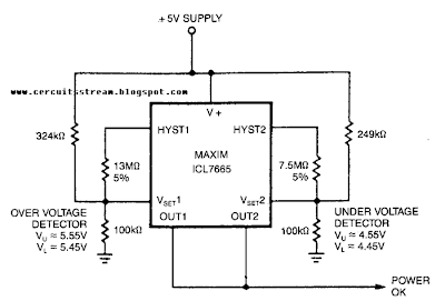 Single Supply fault Monitor Circuit Diagram