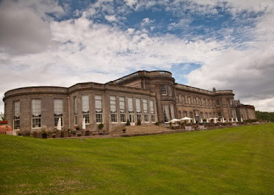 Wynyad Hall Patio and rear lawns in the sunshine
