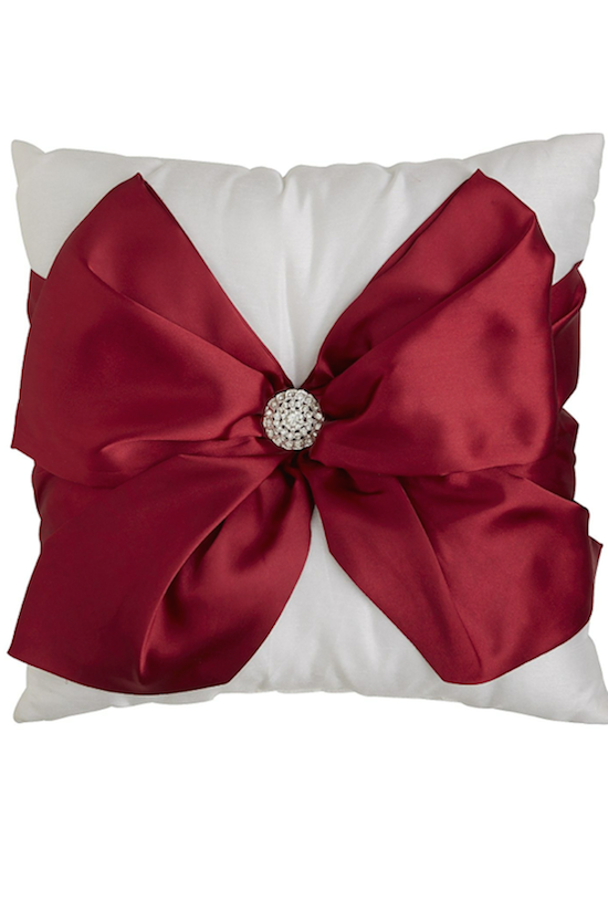 Red Bow Pillow Christmas Decor