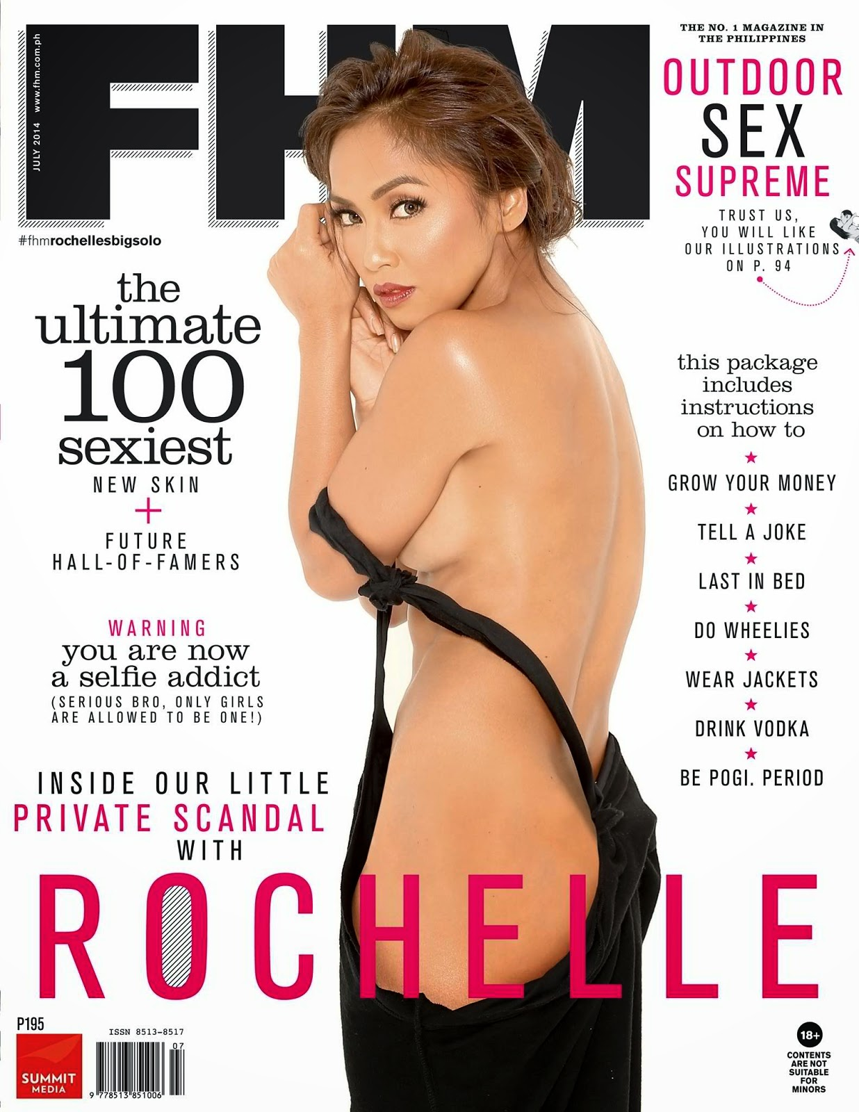Former SexBomb Dancer Rochelle Pangilinan posed almost naked in FHM's July 2014 issue