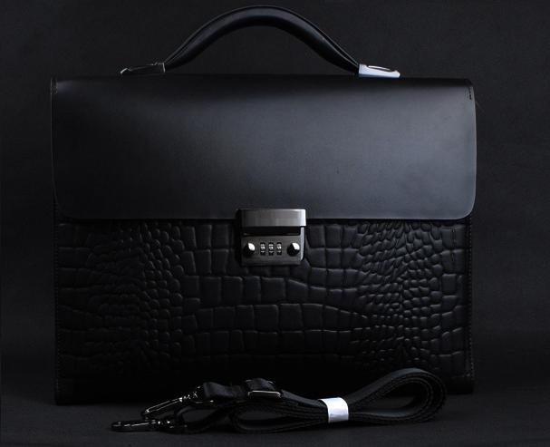 Classic Crocdile Leather Mens Laptop Lock Black Bag