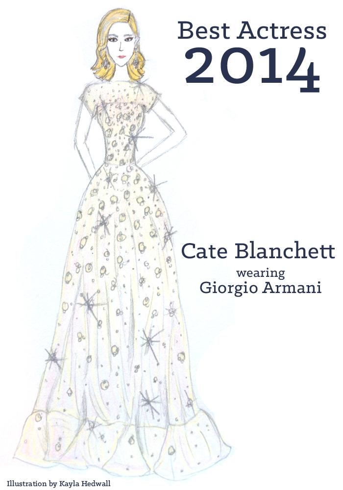 Best Actress dress 2014: Cate Blanchett   Illustration by Kayla Hedwall