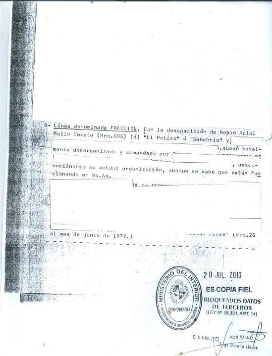 Uruguay censuran archivos sobre nebio melo for Ministerio de relaciones interiores y justicia
