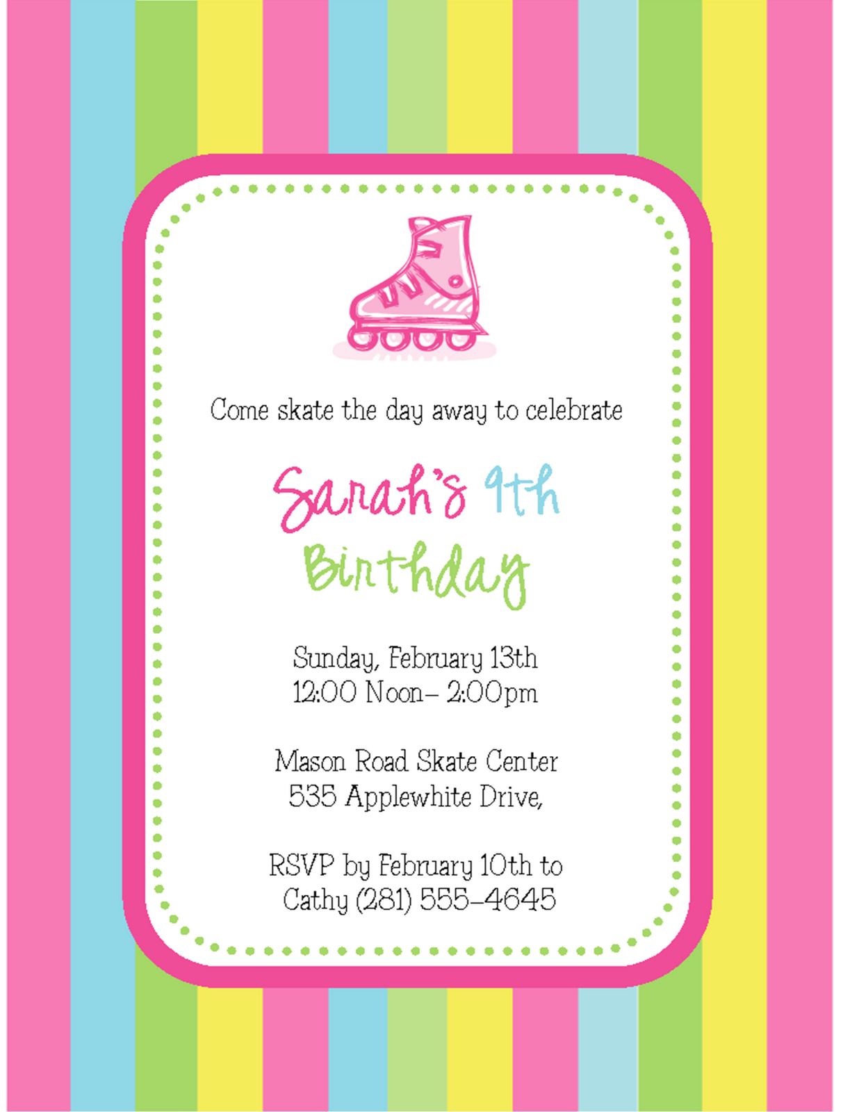 540feccf201925 Skate Away  Roller Skating Party Invitations - Sweet Peach Paperie