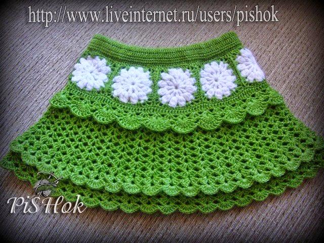 Crochet y dos agujas: Faldas para niñas tejidas al crochet