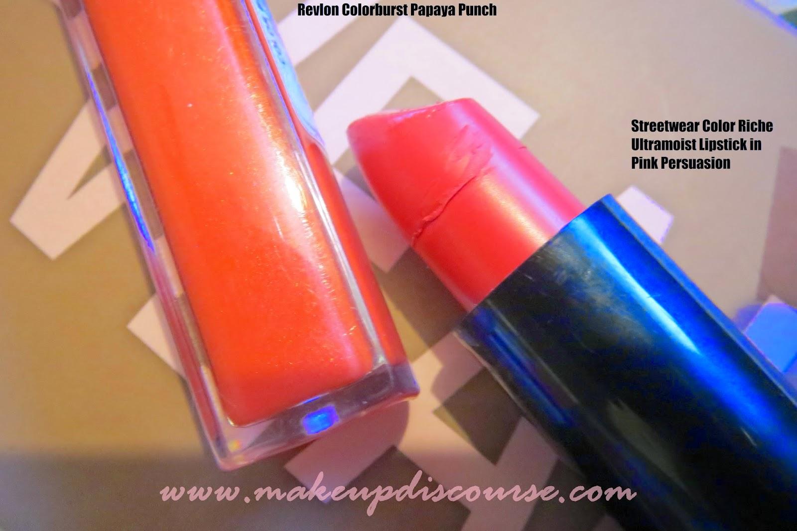 Streetwear Color Rich Ultramoist Lipstick in Pink Persuasion  Revlon Colorburst Lipgloss in Papaya Punch