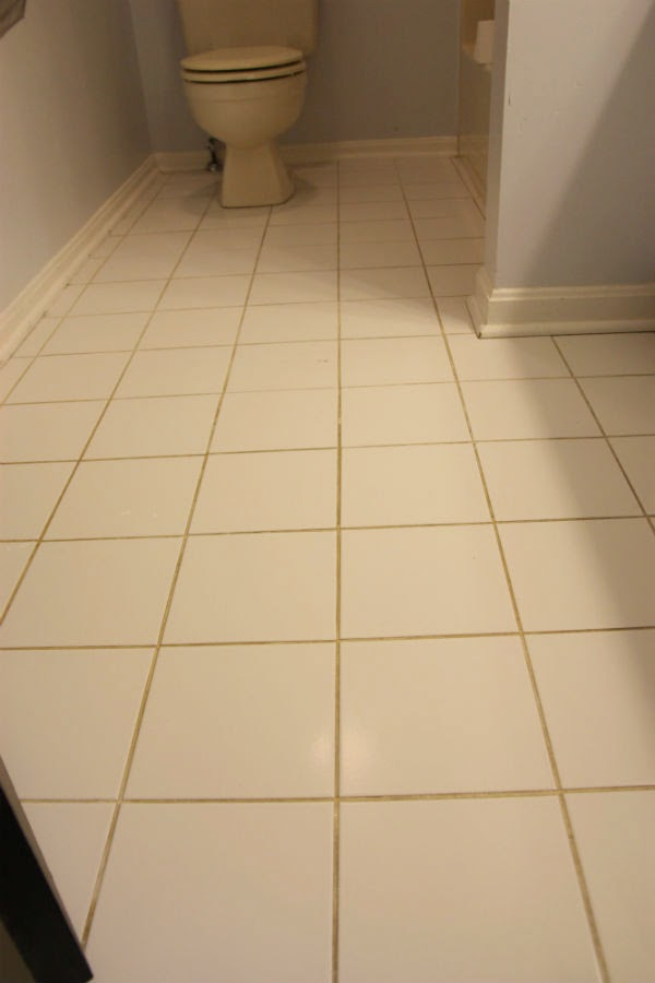 Restoring dirty tile grout with paint the diy nurse for How to make grout white again