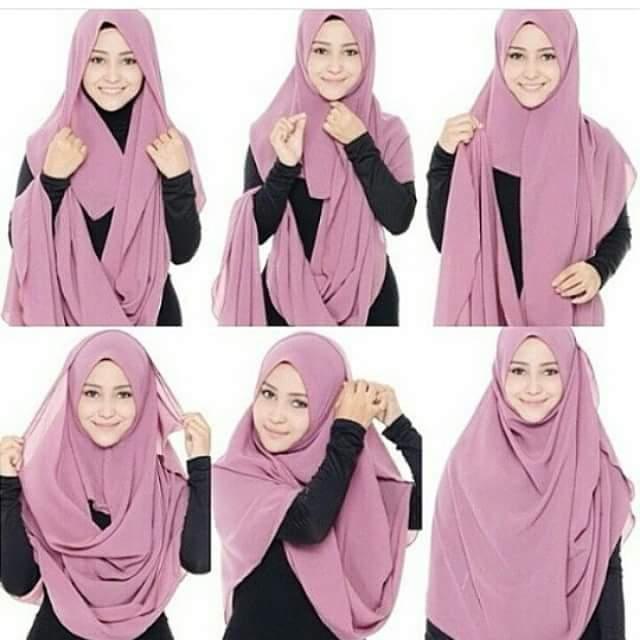 10 Cara Mudah Pakai Shawl, Tutorial Shawl, pakai shawl extra large