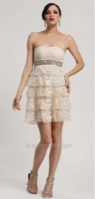 Strapless Embroidered Tiered Cocktail Dresses by Sue Wong