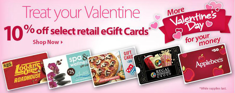 Select eGift Cards 10% off (Walmart Online)
