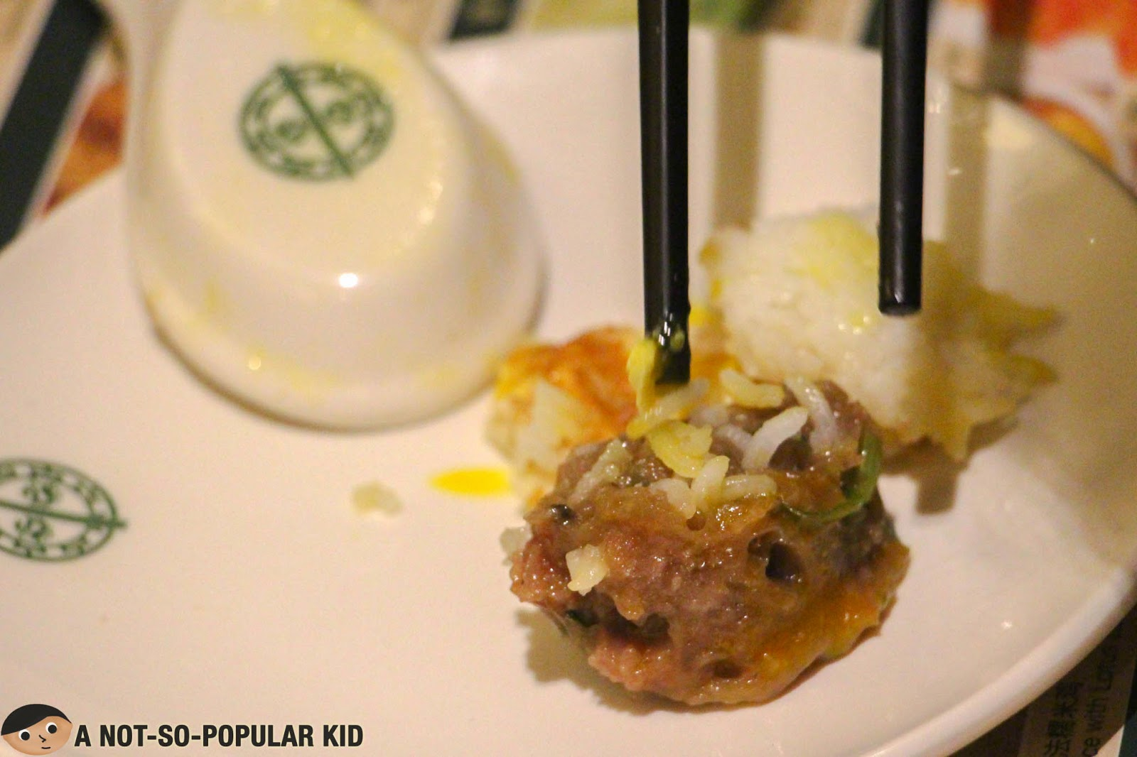 A closer look look of the Rice with Beef & Fried Egg of Tim Ho Wan