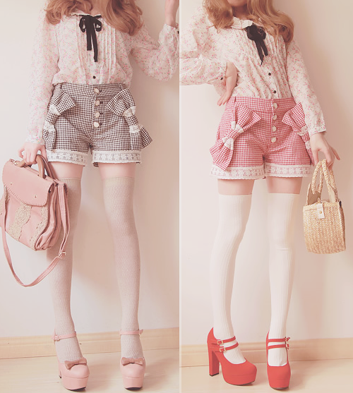 Kawaii Over the Knee Socks with Shorts Outfit