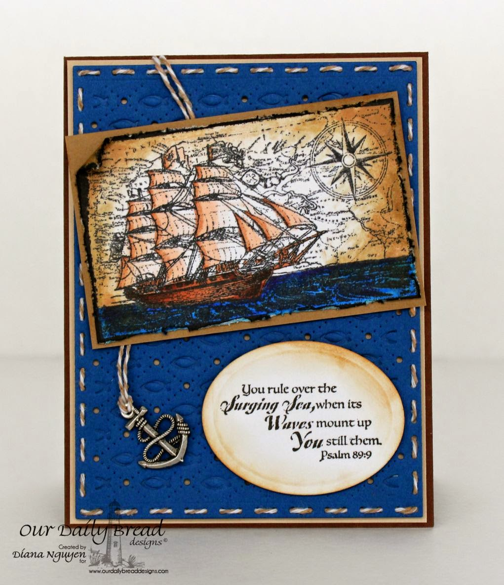 Diana Nguyen, ODBD, Our Daily Bread Design, Surging Sea, masculine card, nautical