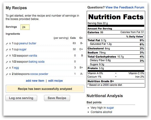 Calculate calories in a cookie recipe