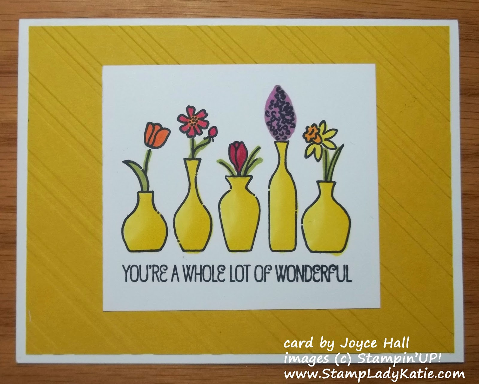 Card made with Stampin'UP!'s Vivid Vases Stamp and colored with the Blendabilities alcohol markers