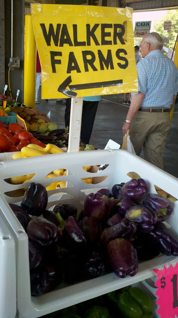 Purple bell peppers, Walker Farms, NC, Raleigh, farmers market, taken by Lynn Shallue at Lost Compass
