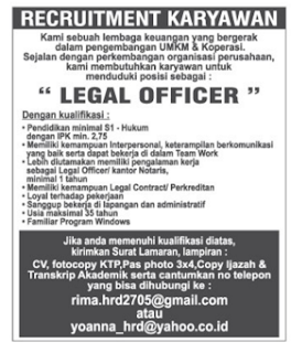 Bursa Kerja LEGAL OFFICER Lampung