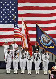 The colors are presented before the ceremony (U.S. Navy photo)