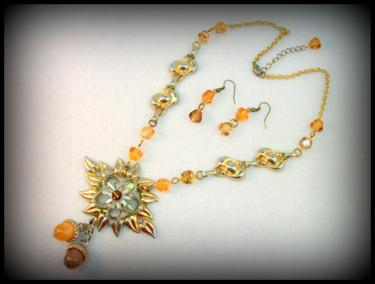 Sunflower - Mixed Media Statement Necklace and Earrings from Reclaimed Vintage Jewelry