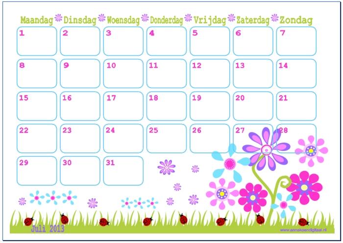 Sweet Tables en Taart!: Juli 2013 maandkalender: Gratis Freebie
