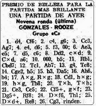 Partida de ajedrez González Mestres vs. Roose en Mundo Deportivo, 1 de septiembre de 1965