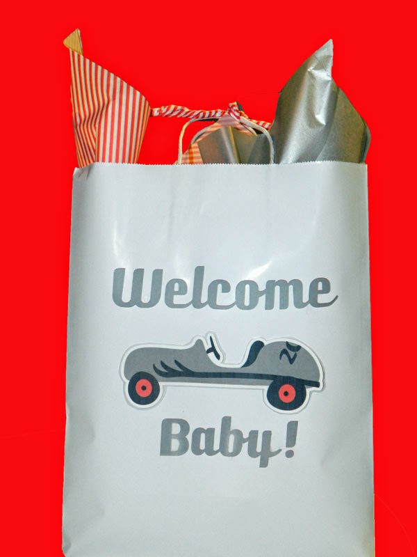 Baby Shower Gift Bag | Silhouette Print and Cut | Vintage Car