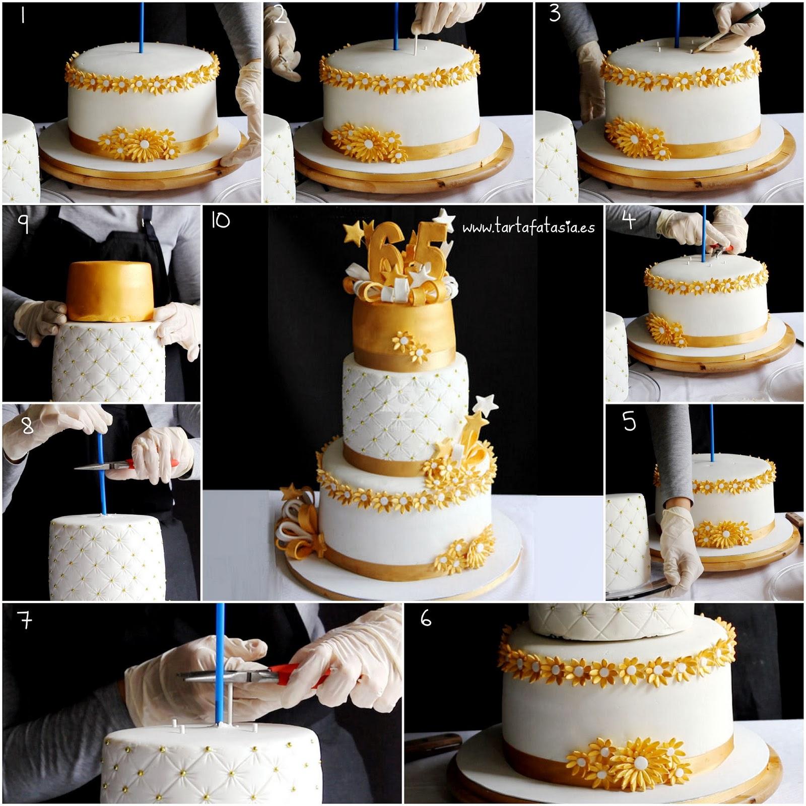C mo montar una tarta de varios pisos segunda parte tarta dorada tartafantas a - Pisos para una persona madrid ...