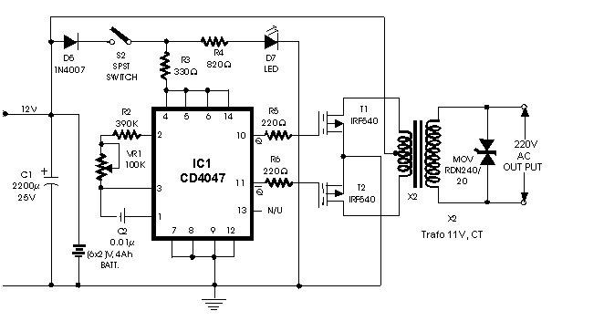 sch u00e9ma simple de convertisseur continu alternatif