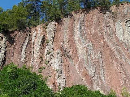 Estrats verticals de l'anticlinal d'Oló a la Baga de Moratones