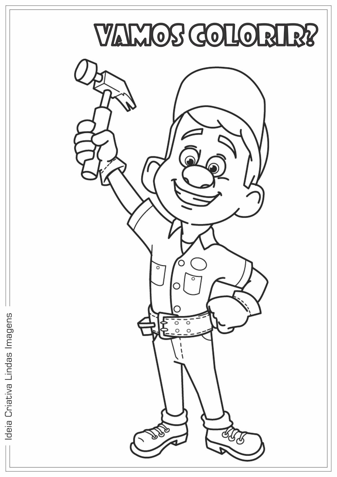 Filme Detona Ralph - Felix desenho para colorir