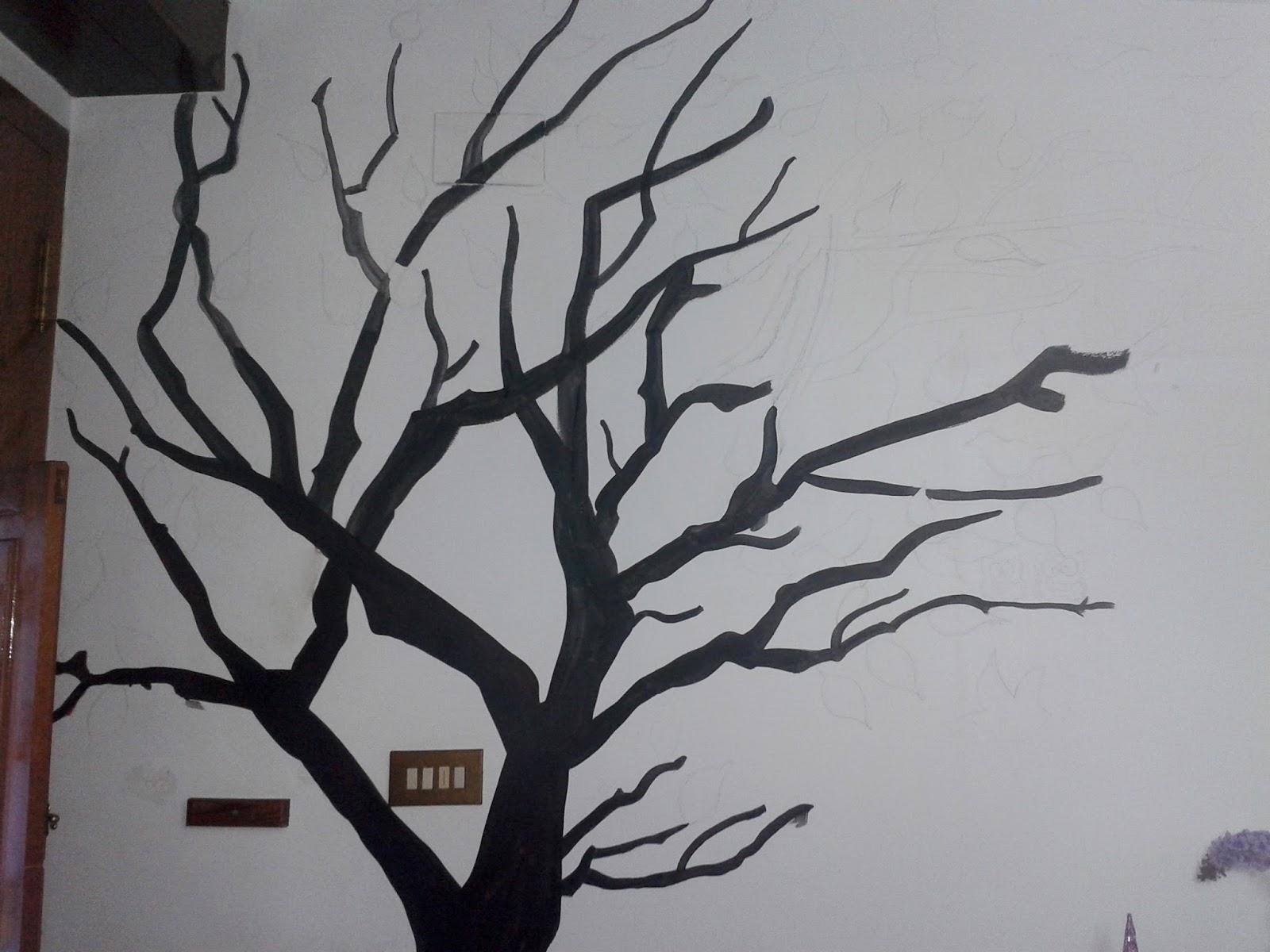 Diy mural rbol con hojas geno dise o arte for Un mural facil de hacer