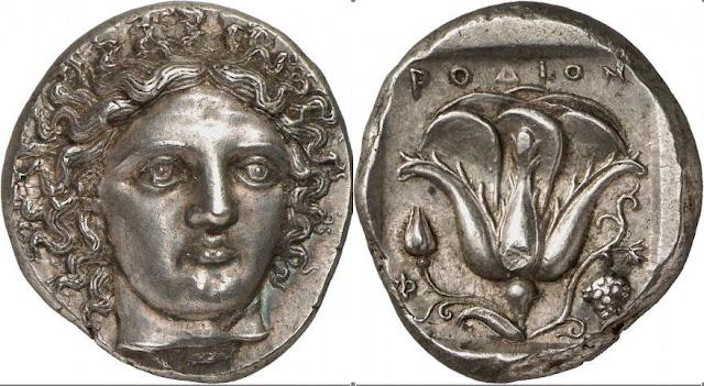 """Ένα από τα ωραιότερα δείγματα ασημένιου αρχαιοελληνικού ροδιακού τετράδραχμου.  Τουλάχιστον οκτώ από αυτά θεωρούνταν στην Μεσαιωνική Δύση αυθεντικά """"αργύρια του Ιούδα""""  και τιμόταν ως ιερά λείψανα!"""