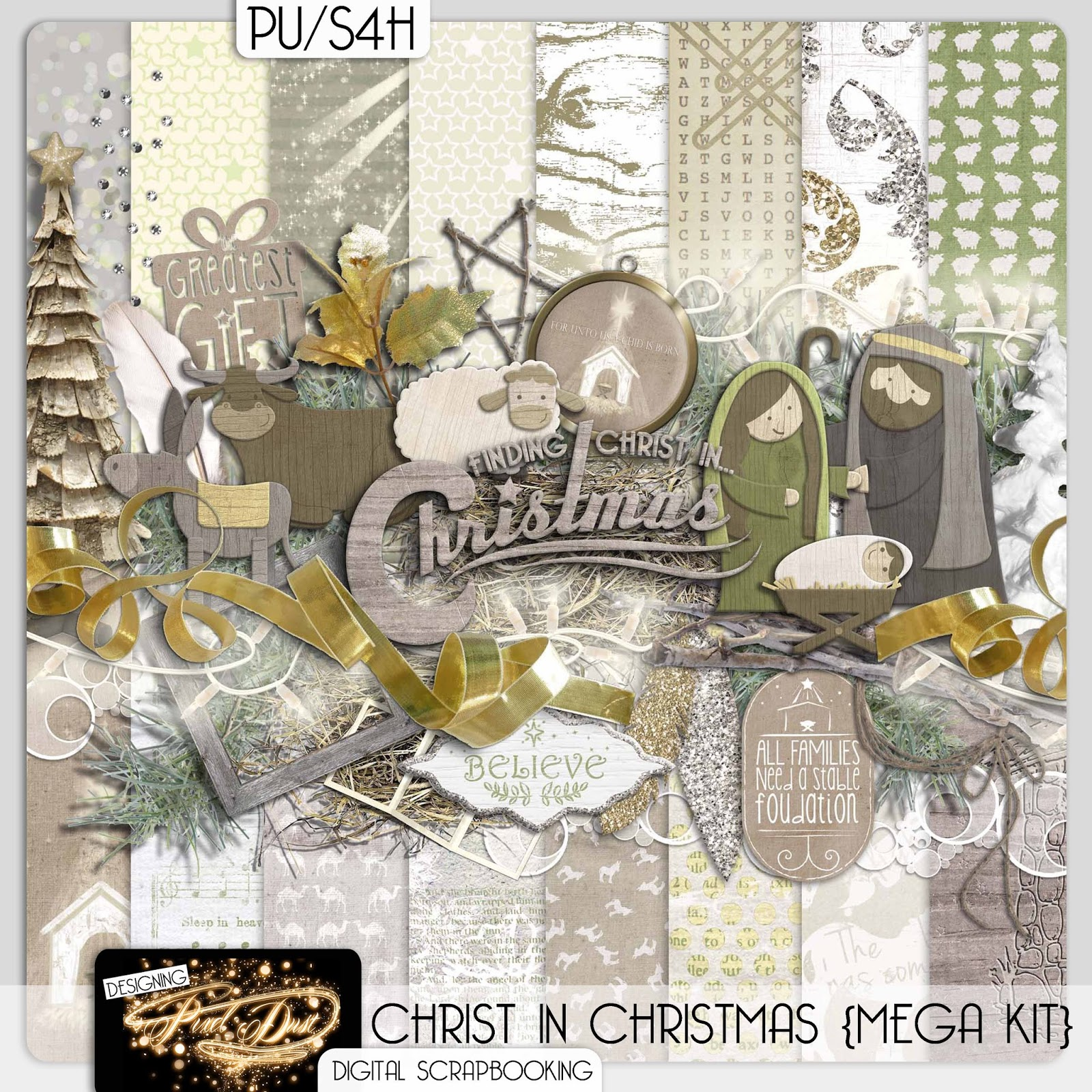 Christ In Christmas Digital Scrapbooking Kit Free Mini Kit Download