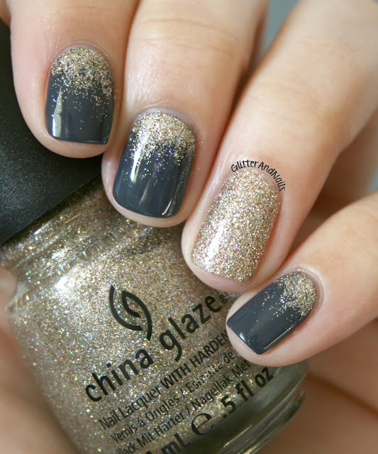 Softness + Finesse Glitter with an accent nail.