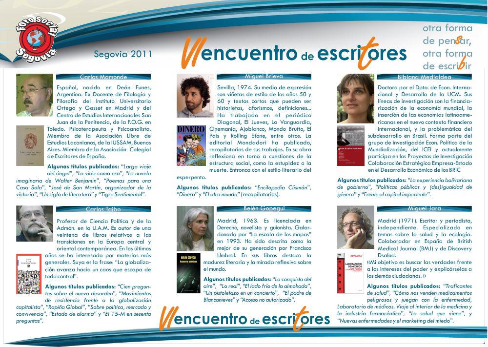 VI Encuentro de Escritores: viernes 30 de septiembre y sábado 1 de octubre en la Academia de Historia y Arte San Quirce