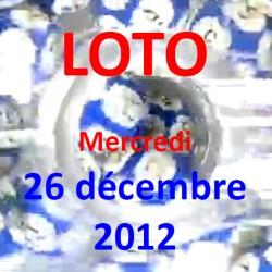 boules du LOTO - tirage du mercredi 26 décembre 2012
