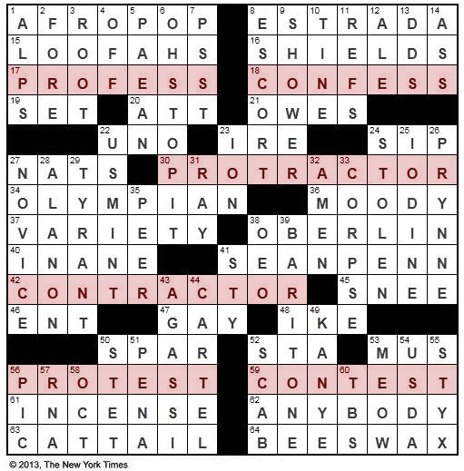 The New York Times Crossword in Gothic: 07.16.13 — Pros and Cons