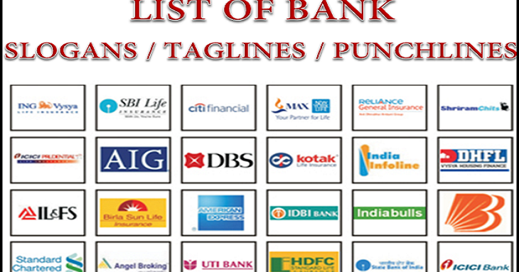important  list of bank slogans and punchlines