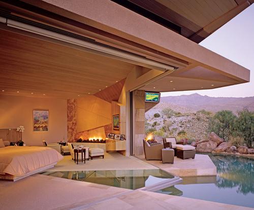 Glazen Vloer Huis : Interieur huis stoel: zwembad verbindt binnen met buiten