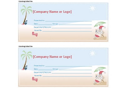 Free Gift Certificate from the Summer Santa Stationery Set created by Robert Aaron Wiley for Microsoft Office Online