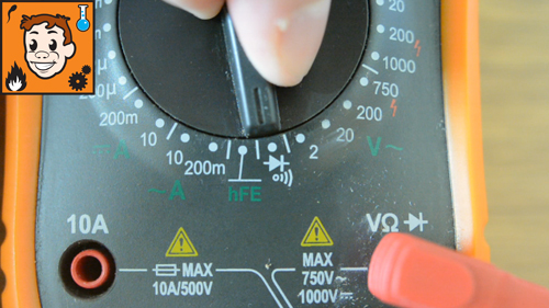 Continuity setting on digital multimeter