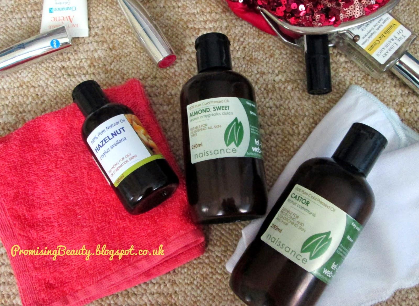 Hazelnut oil, castor oil, sweet almond oil, oil cleansing method