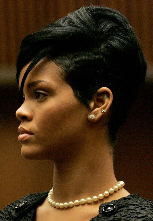Rihanna Short Pixie Hairstyles for Black Women with Thick Hair