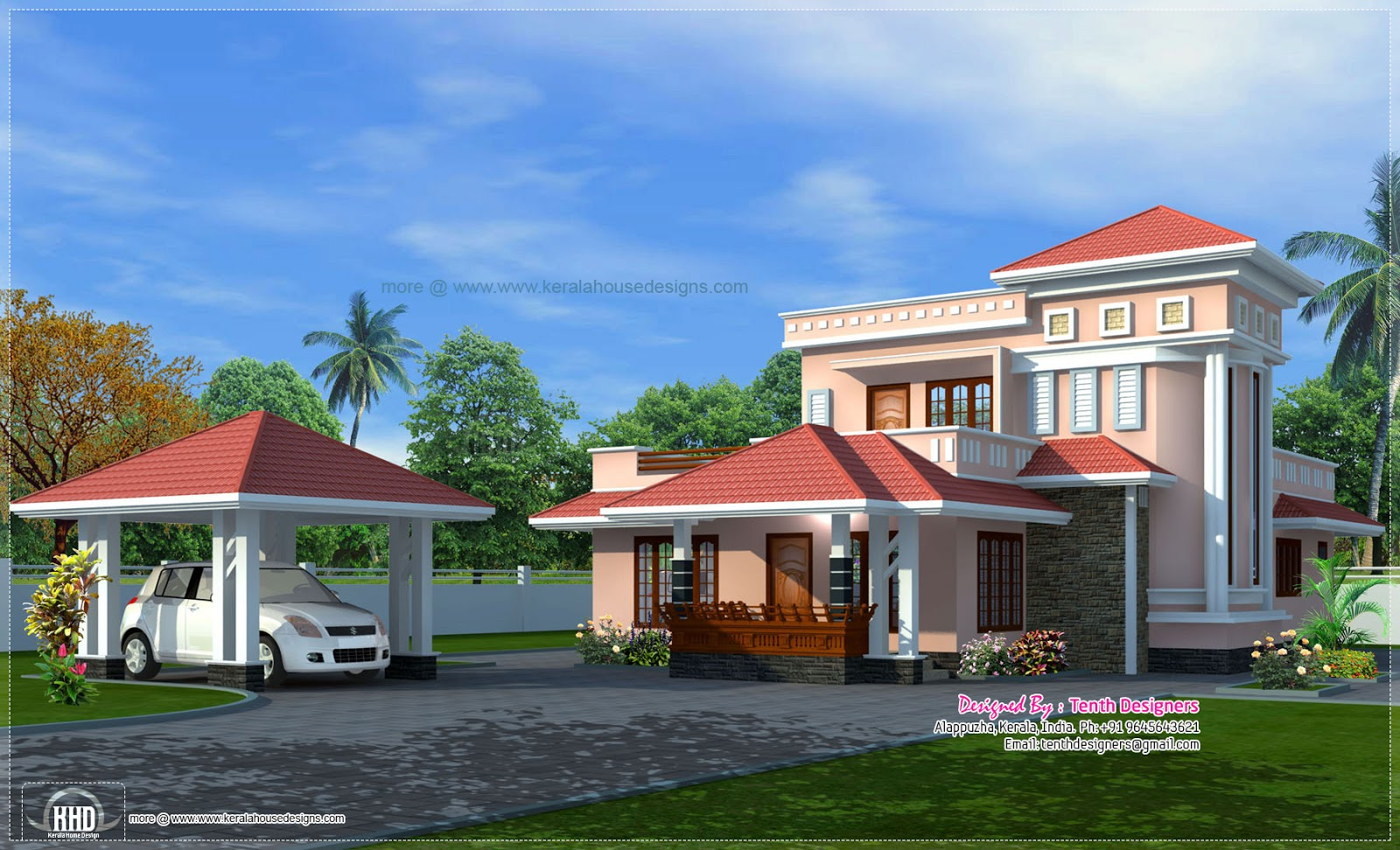 ... exterior with separate car porch - Kerala home design and floor plans