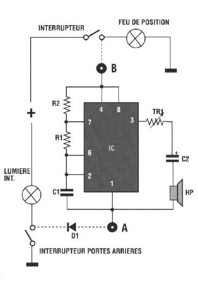 schema electronique gratuit montage  schema avertisseur