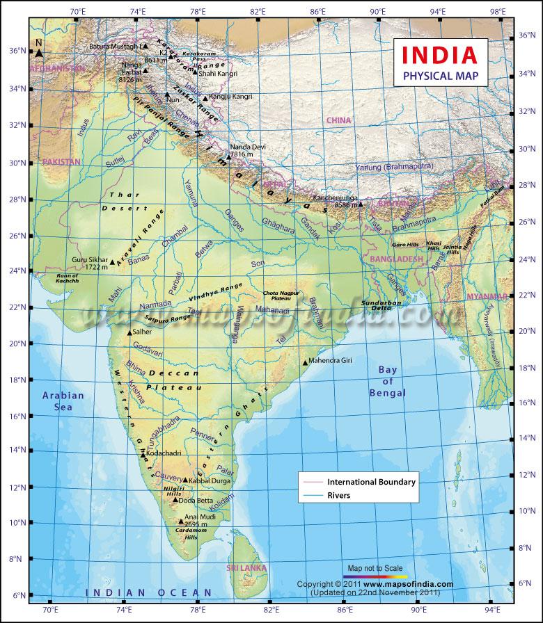 latitude and longitude of india