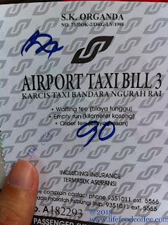 Bali Airport Taxi Bill