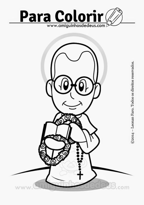 São Maximiliano Maria Kolbe desenho para colorir
