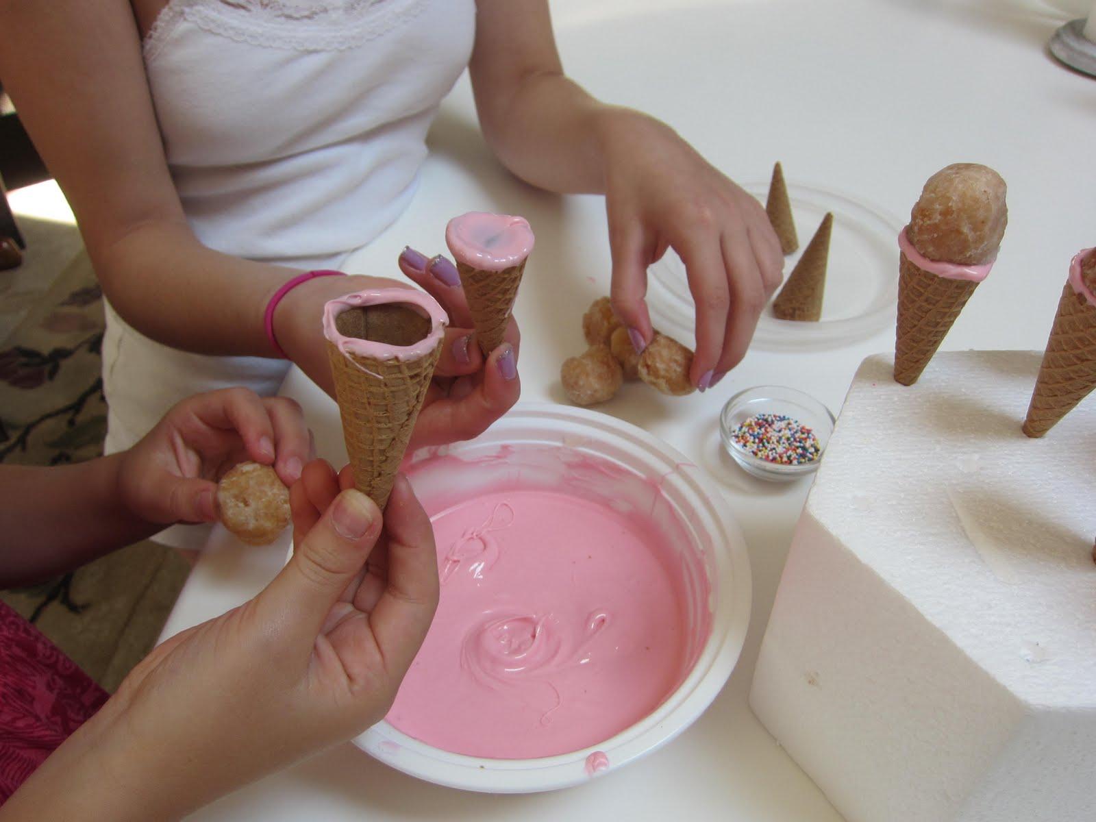 Cake pops in ice cream cone