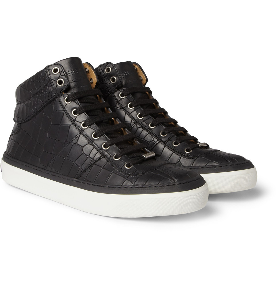 men 39 s fashion style aficionado jimmy choo belgravia crocodile embossed leather high top sneakers. Black Bedroom Furniture Sets. Home Design Ideas